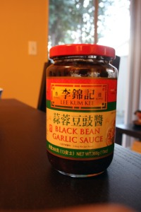 This is the black bean sauce I used.  Yes, straight from the jar.  I have no shame.