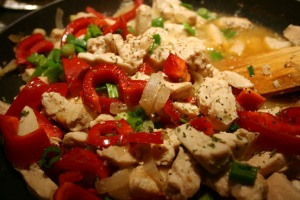 Plum wine chicken in pan