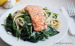 Fettuccine with Lemon, Basil, Salmon1