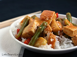 Red Curry with Tofu, Green Beans and Red Bell Pepper
