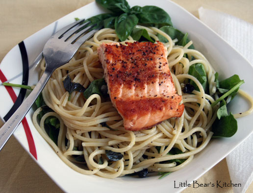 Spaghetti with lemon, basil and salmon, overhead