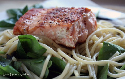 Spaghetti with lemon, basil and salmon