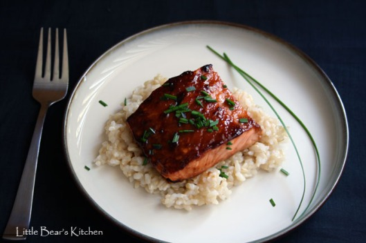 Miso-glazed salmon overhead