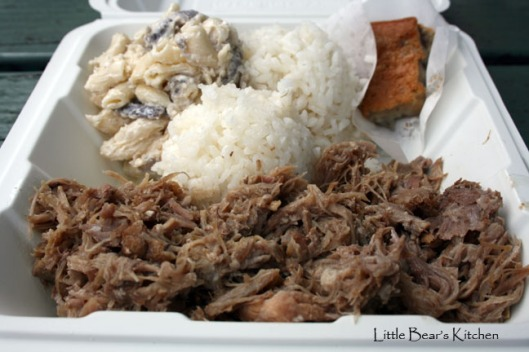 Kalua pork, mac salad with taro, rice, taro mochi cake from lunch truck in Hanalei2a